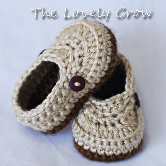 PDF Crochet Pattern for Little Mister Loafers  -  4 sizes - Newborn to 12 months.
