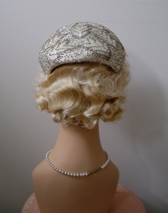 The Soleil- Vintage 1950s Beaded Cocktail Hat