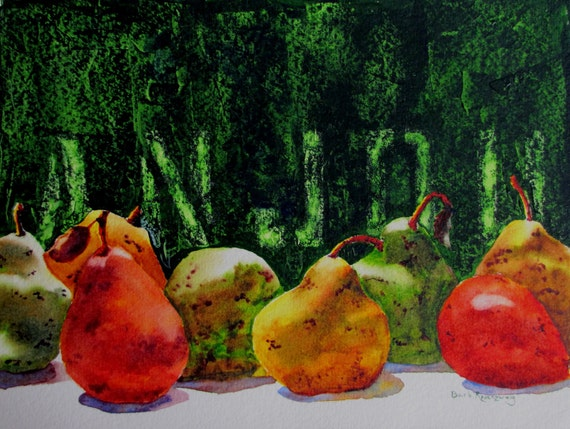 Anjou Pears Still Life Watercolor: Fine Art Reproduction 16x20