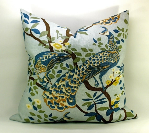 Dwell Studio Vintage Plumes peacock pillow cover in Jade - 12 x 20 Lumbar