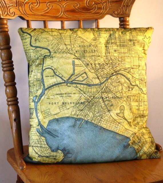 МЕЛЬБУРН Винтаж карте мягкая обивка, подушки крышки, органический хлопок, 16 дюйма, 41 см