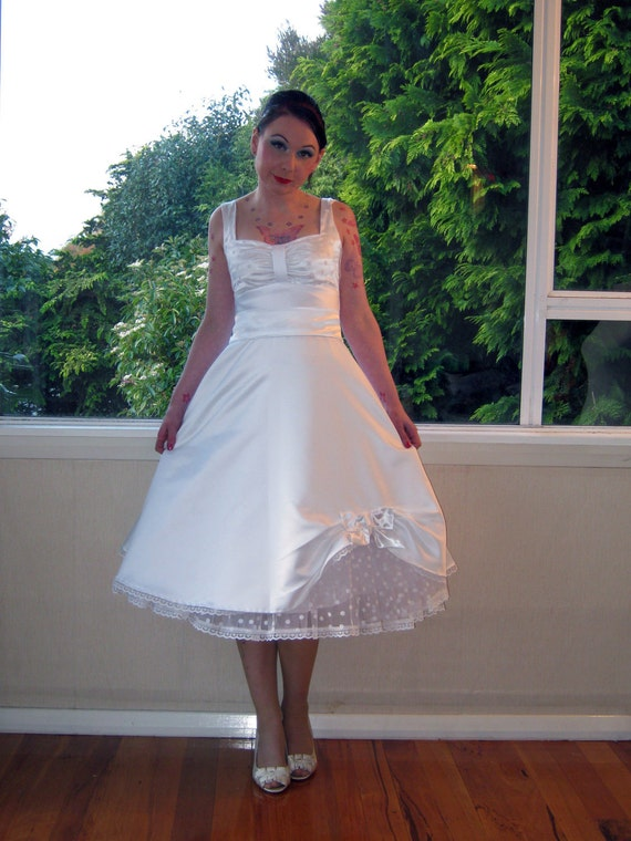 Wedding Dress in Full Skirted 1950s Pin up Rockabilly Style with Polka Dot Petticoat and Sash Tea Length - custom made to fit