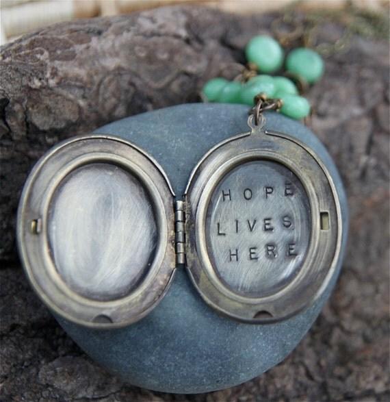 SALE hope lives here . a (whispered) soul mantra locket