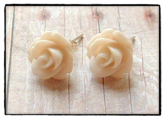 Ivory cream rose post stud earrings free shipping