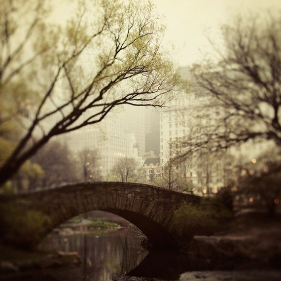 NYC Photo - Fairytale of New York - Central Park in the spring fog, Dreamy Travel Photography