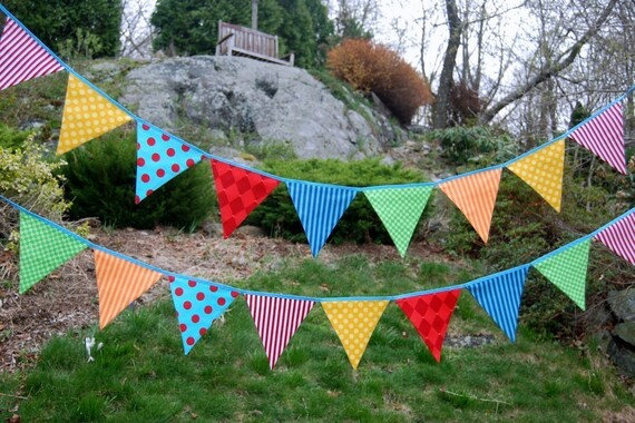 Carnival Birthday Party Bunting / Playroom Banner -- red, yellow, blue, green, orange fabric flags