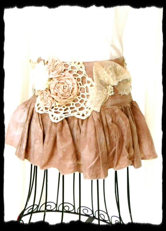 Urban chic Embellished Mini Skirt Shabby chic Vintage  ROsette Lace Doily Sexy Funky LAce pearl
