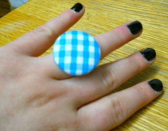 Blue-White Plaid Ring (free shipping)
