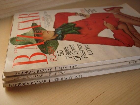 1970s Vintage Fashion Magazines- Set of 3 Harper's Bazaar