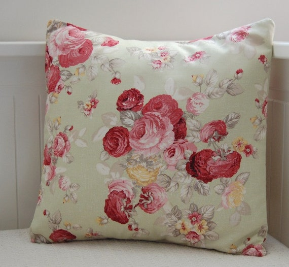 shabby chic roses cushion cover,green pillow cover OOAK