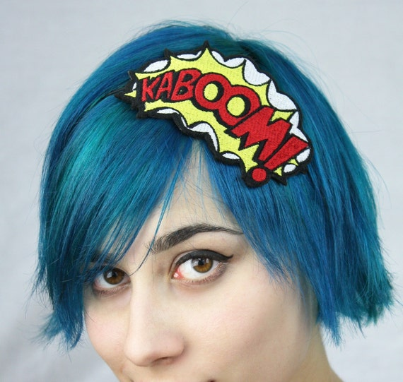 Comic Kaboom embroidered headband hair decoration White yellow and red