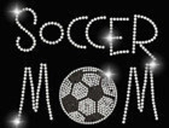 Soccer MOM Rhinestone TShirt - Several  Shirt Colors Available