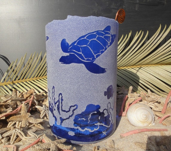 Large vodka bottle luminary candle - underwater scene