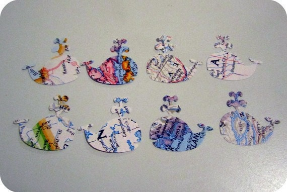 24 Vintage Library Card Book Plates and 100 Vintage Map Whale Punches (Custom Order for Curtsies)