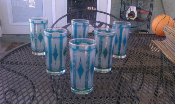 Mid Century Blue and Gold High Ball Glass Set 6pc