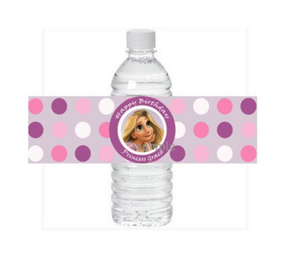 Personalized Water Bottle Label Tangled Rapunzel Princess Birthday Party You Print