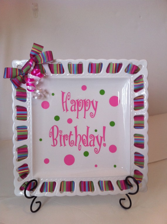 Cutie Tootie Plates Personalized  with Ribbons