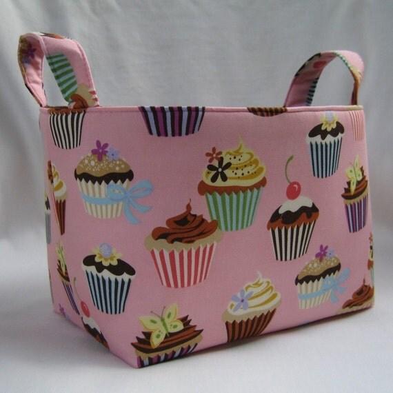 Fabric Organizer Bin Basket - Pink Cupcake