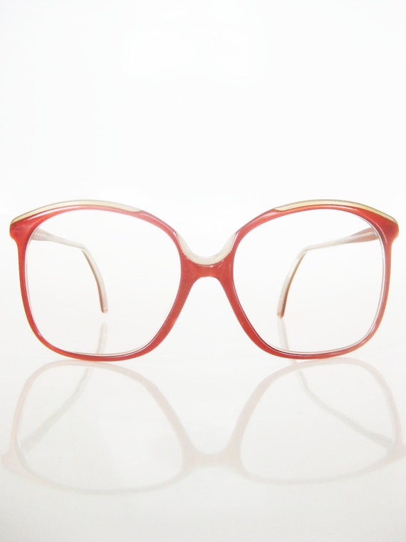 Vintage ITALIAN Oversized Optical Frames Eyeglasses Glasses Sunglasses 1970s 70s Seventies Indie HIPSTER Crimson