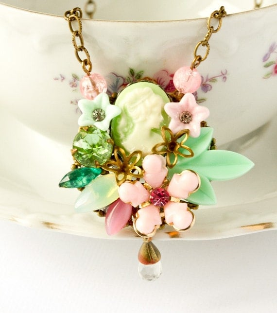 Garden Boutique Collection 1 - Spring 2011 - Green and Pink Vintage Collage Necklace