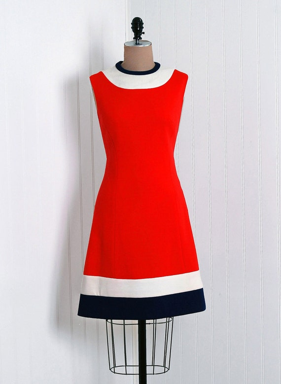 1960's Vintage Lilli Ann Designer-Couture Red,Navy-Blue and Ivory Wool-Knit Military Block-Color Stripe Belted-Waist Stewardess Space-Age Pleated Mod Swing-Skirt Princess Career Cocktail Party Coat-Jacket and Matching Go-Go Shift Sleeveless Dress Suit