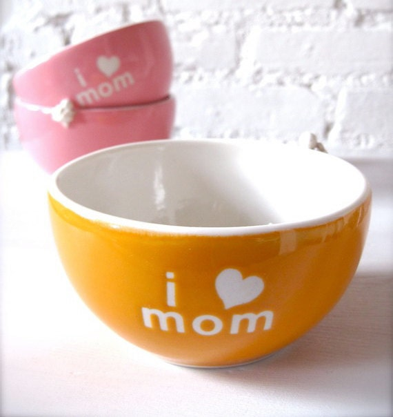 I Love Mom Angel Orange Bowl for Happy Mother's Day