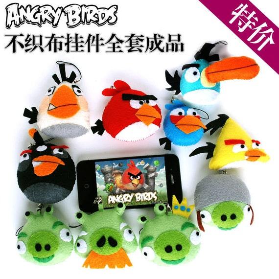 10pcs Angry Birds Toys Full Set Nonwoven Pendant