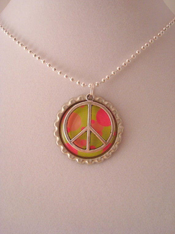 PEACE Bottlecap Pendant with Charm / Party Favor - FREE Necklace