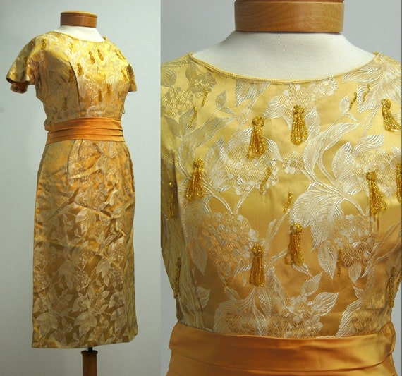 FREE SHIPPING 1960s Gold Beaded Wiggle Dress