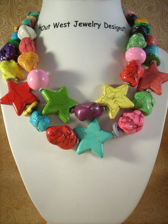 Chunky Turquoise Nuggets and Stars Rodeo Cowgirl Necklace