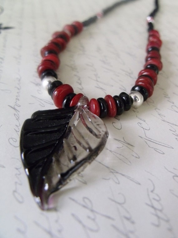 Black and Red Bamboo Coral Leaf Necklace