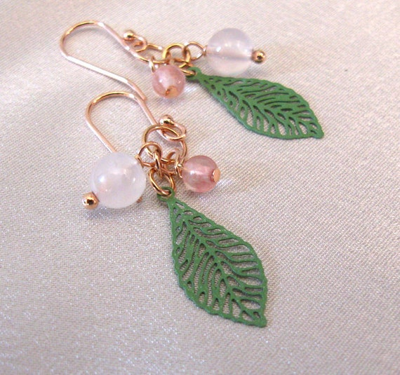 Pink Chalcedony Gemstone Earrings Filigree by sendinglovegallery from etsy.com