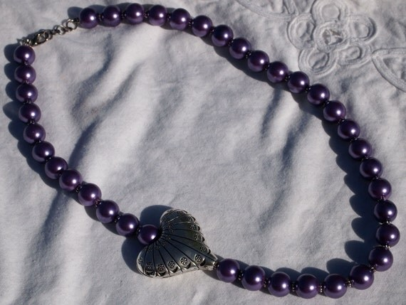 Asymetric Lavender Glass Pearl with Silver Heart Necklace