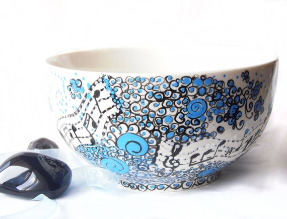Hand painted bowl porcelain Soul music hand painted breakfast, soup bowl in blue white and black