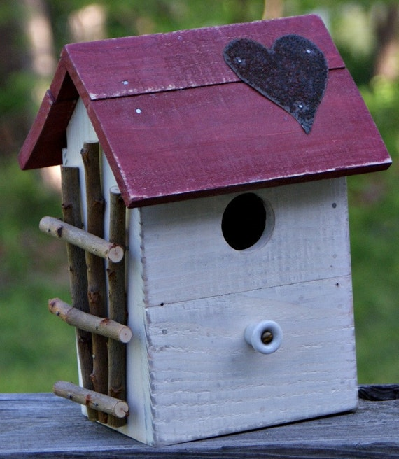 white birdhouse with red heart roof, shabby chic, cottage, coastal living, beach, French, primitive, rustic