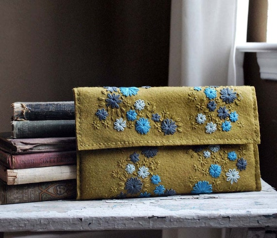 Hand Embroidered Wool Felt Full Size Clutch in Her Random Wanderings pattern Olive/Gold Pewter Grey Turquoise