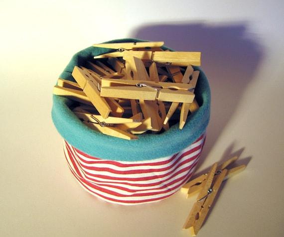 Ручной работы круглого корзина хранения ткани: красные и белые полосы с бирюзой экологически чувствовал