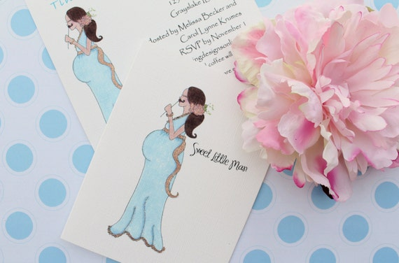 A Little Man is on His Way separate invitations, thank you cards post cards, cupcake flags, gift tags and letter garland