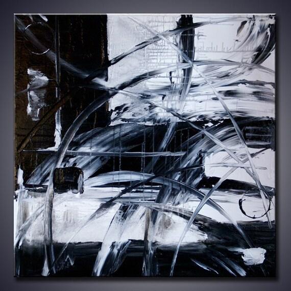 30X30 اصلی مدرن چکیده سیاه و سفید هنر نقاشی آنلاین شده توسط ADA