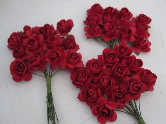 36 Маленькая - Ruby Red бумажные цветы - мини-букет - нежности