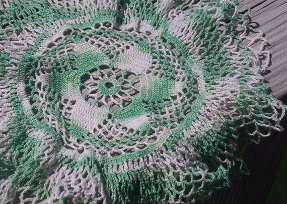 Vintage Hand Crocheted White and Green Doily with Dainty Yarn