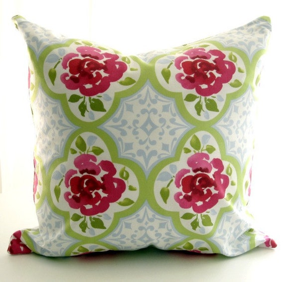 Hot pink flowers on white/ decorative pillow cover/ 18 inch