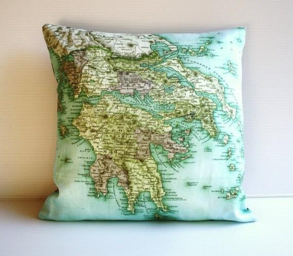 ГРЕЦИЯ-органического хлопка крышки подушки, подушки, подушки карта, 16 дюйма, 41 см