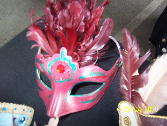 Burgundy Feather Masquerade Mask