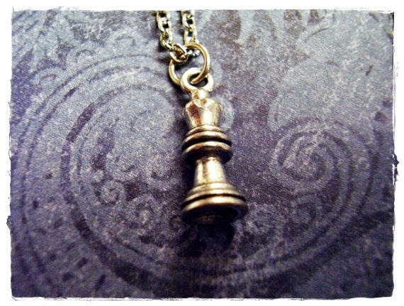 Tiny Queen Chess Piece Charm Necklace in Antique Pewter with a Delicate 18 Inch Silver Plated Cable Chain