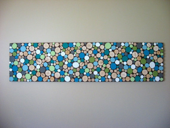 Made to Order Painted Sliced Wood Sculpture Wall Art 12x48