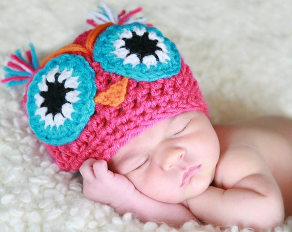 ESTEFANIA THE  OWL handmade crochet Hat / Beanie   Newborn to 5 years old  photo pro-