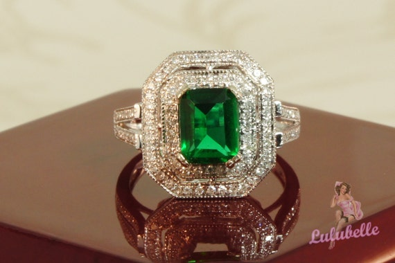 Emerald Art Deco Ring - Green Topaz and Diamond pave hezagon double halo engagement or wedding ring in 14k white gold