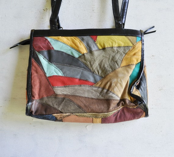 Vintage 80s EARTHY Patchwork Leather Bag by MariesVintage on Etsy from etsy.com
