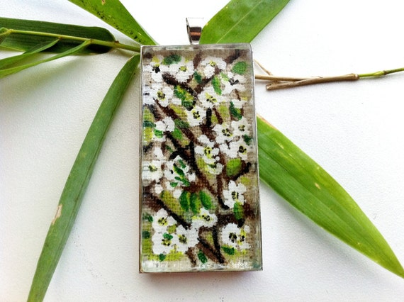 Handpainted White Cherry Blossom Pendant